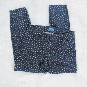 Old Navy Navy Blue Floral Pixie Midrise Pants